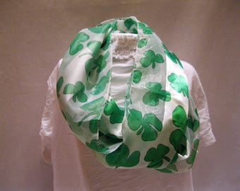 White and Green Shamrock Scarf. Perfect for St. Patrick's Day