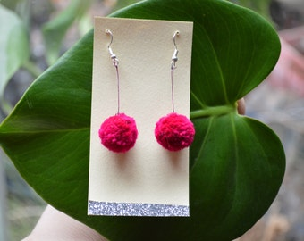 Cherry Pink Pom Pom earrings