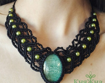 Necklace with beads For dress For turtleneck Green Black Lace necklace Heart Free shipping