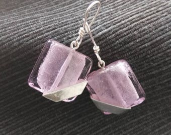 Earrings ~VOLTA~ sterling silver and pink glass beads