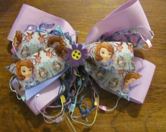 Disney Style Sofia Stacked Ribbon Hair Bow Lavender