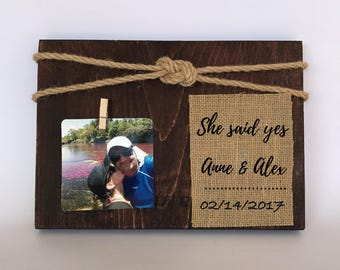 She said yes picture frame. Bride to be gift. Engagement frame. Engagement picture frame. Engagement personalized frame. Engagement gift.