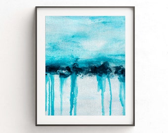 Instant download printable art landscape painting wall decor art print blue white abstract art line modern interior design artwork