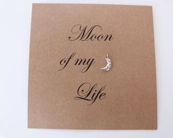 Moon of my Life. Handmade Anniversary card. Game of thrones unique card. For my wife. For my girlfriend. For my fiancee. Silver moon