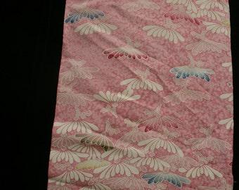 2 Pieces of Vintage Japanese Kimono Silk Fabric