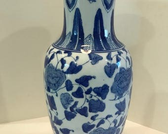 REDUCED TO SELL!! Vintage Blue and White Chinese Ceramic Vase