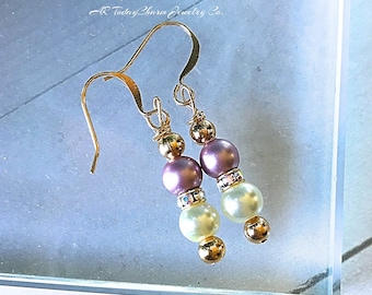 Pearl Bridal Earrings with Swarovski Crystal Accents