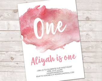 Watercolor first Birthday Invitation, Girl's First Birthday, Watercolor invite, Boy Birthday, Turning One, First Birthday, pink watercolor