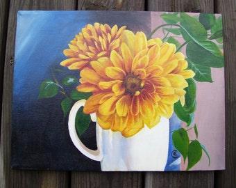 Daisy- White Mug of Daisies- Original Acrylic Painting