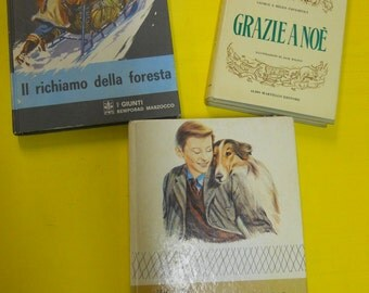 3 books boys LASSIE come home-call of the wild 1970-1977 thanks to Noah 1954
