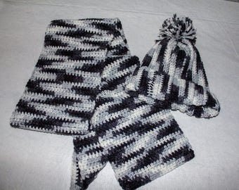 Black, white and grey beanie and matching scarf