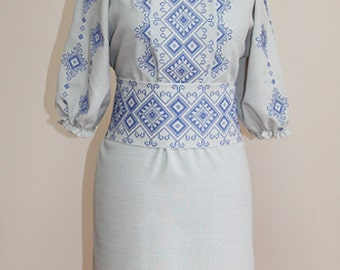 Women's dress embroidered ethnic Ukraine cross