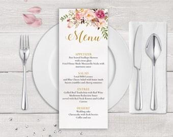 Floral Wedding Menu Template, Boho Wedding Menu Printable, Whimsical Wedding Menu, Dinner Menu, Floral Menu Template, Boho Menu Template DIY