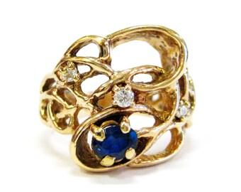 Sapphire & Diamond Open Work 10K Ring - X3182