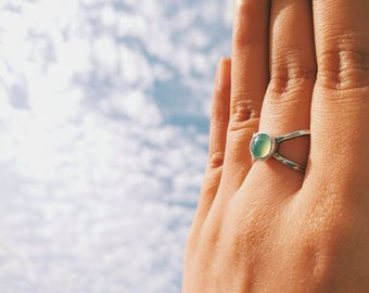X Silver ring with jade / turquoise