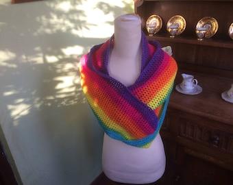 Infinity scarf, Rainbow Shaded scarf,  Shaded cowl, Hand Made, Hand crochet, Crocheted infinity scarf, Crochet scarf, Lovely Shaded yarn