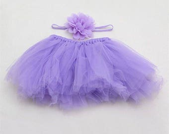Two piece sets-Newborn Baby Girls Tulle Tutu Skirt with flower headband, Photography Pictures