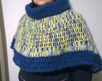 Rainbow crochet poncho