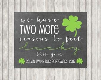 50% OFF! Digital TWINS St. Patrick's Day Pregnancy Announcemement
