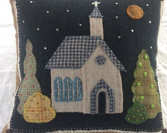 "Wool Felt Applique Pillow ""Church Under the Stars"""