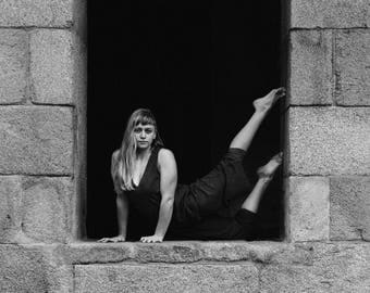 Spanish Dancer II, Contemporary Classic, Girl at the window, Art, Black and White Portrait, Visual Poetry Photography, Body, Print