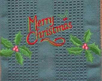 Emboridered Merry Christmas Towel