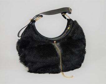 Genuine Black Leather Sheepskin Shoulder Bag Adjustable Strap