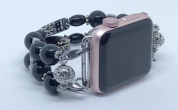 """Apple Watch Band, Women Bead Bracelet Watch Band, iWatch Strap, Apple Watch 38mm, Apple Watch 42mm, Classic Black Size 7 1/2"""" - 7 3/4"""""""