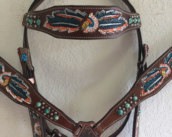 Brown Leather with teal orange rhinestones - Western Tack Set, Headstall & Breast Collar