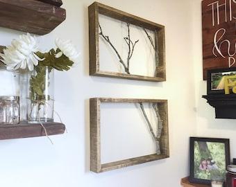 2 Frame Branch Art Set. Branch Art. Modern Decor. Tree art. Pallet Frame Art. Branch Art Set. Wall Decor. Wall Art. Rustic Framed Branches
