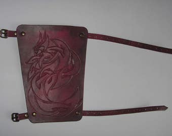 Dark Red Hand Carved Dragon Bracer LARP, Role Playing