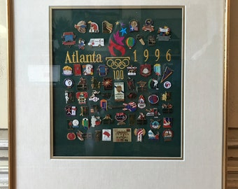 Framed 1996 Atlanta Olympic Games Pin Set (C)