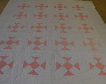 Reserved for Mindee - Vintage Peach and White Handmade Twin Size Quilt - 1940 - 1960