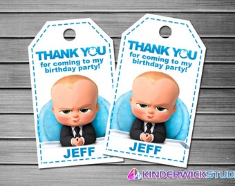 Boss Baby Thank You Tags, Boss Baby Favor Tags, Boss Baby Gift Tags, Boss Baby Tags, Boss Baby Tag Printable, Boss Baby Birthday Tags