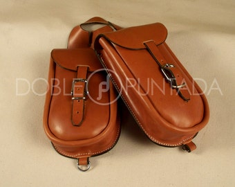 Saddlebag double front of leather for saddle Western