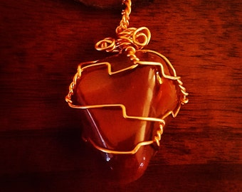 Wire Wrapped Jasper Pendant