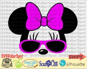Minnie Mouse SVG - Disney  SVG - Minnie with Sunglasses - SVG File - Silhouette Studio File