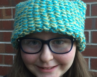 Blue and Yellow Knitted Hat with Cat Ears
