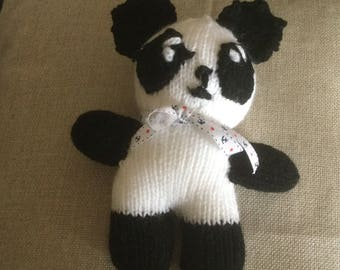 Panda knitted toy