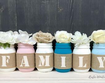 Family Mason Jar Decor // Mason Jars // Cabin Decor // Mason Jar Decor // Mason Jar Centerpieces // Burlap Mason Jars // Gift