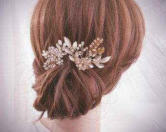 Bridal Hair Pin, Wedding Hair Comb, Bridal Comb Set, Gold Hair Accessories, Rose Gold Hair Jewelry