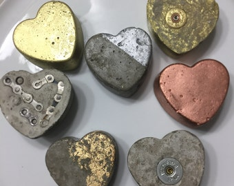 Cement Heart Paperweight or Wedding Favors