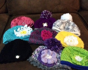 Little girl hats/beanies all colors custom design add a button preemie infant toddler child sizes