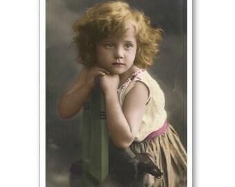 Personalised Handmade Greetings Card ~ Vintage Postcard of A Child  #23