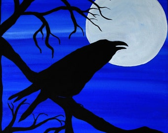 Raven's Moon, birds, animals, raven, crows, full moon, 10x10 canvas, original wall art, gift idea, cool blue colors