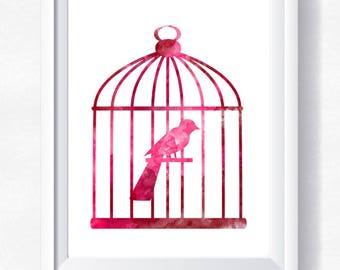 80%OFF Bird cage print, bird cage wall art, pink bird watercolor, toddler wall art, nursery printable, instant download bird cage printable