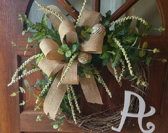 Draping Greenery with Burlap Bow and Monogram