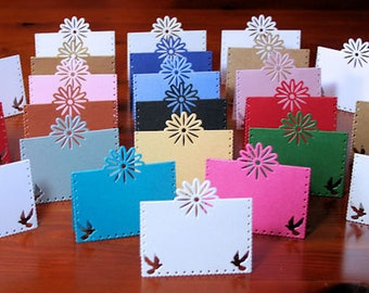 PLACE CARDS - Daisy Bird Place Cards in 300gsm Pearlescent Sturdy Cards - Sixteen Colors available