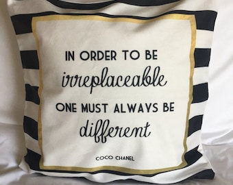 Chanel quote Stripe Cushion