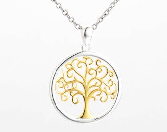 necklace sterling silver necklace and gold tree of life  pendant charm